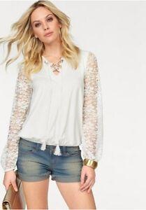 Melrose-Camiseta-top-abombada-Blusa-mangas-de-encaje-m-Cordon-XS-S
