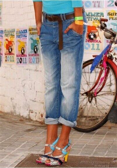 Arizona Jeans Boyfriend NEU L-Gr.72,76,80 Damen Capri Hose Stretch 7//8 Blue Used