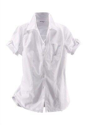 Weiße Baumwolle Blusen (Damen Bluse Kurzarm krempelbar Baumwolle weiß von sheego Gr. 44/46)