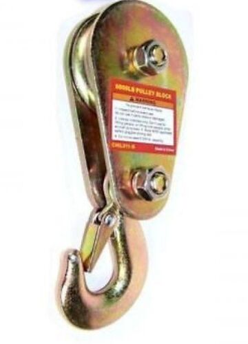 """4000 lb/2T for 3/8"""" rope/cable Lifting Pulley Winch  Block With Safety Clip"""