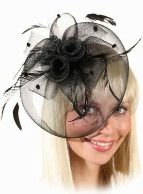 Ladies Black Feather Races Funeral Halloween Mini Hat Fancy Dress Costume Outfit - Funeral Party Halloween
