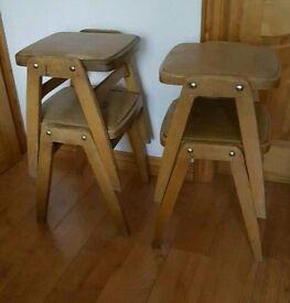 Vintage set of 4 stacking stools