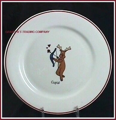 Reindeer Cupid Christmas Cookie Plate 8-1/2 in Holiday Bow and Arrow Hearts (Cupid Reindeer)
