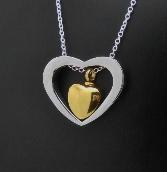 "316L S/Steel ""In My Heart"" Memorial Keepsake Cremation Urn Pendant Jewellery NIB"