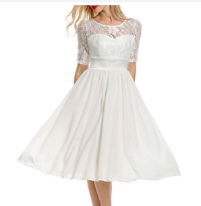 Women's Floral Lace Short Sleeve Cocktail/Wedding Dress