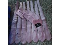Set of 7 pale pink ties and pocket squares