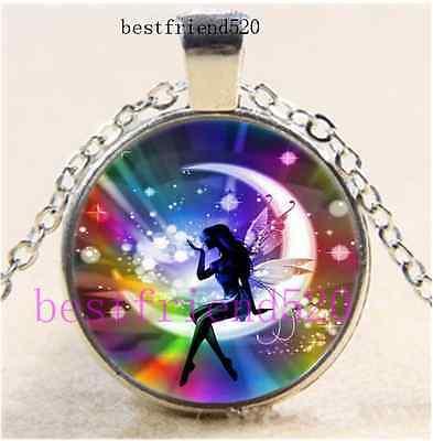 Rainbow Fairy  Photo Cabochon Glass Silver Chain Pendant Necklace