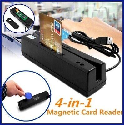 Zcs160 Magnetic Stripe Credit Card Rfid Emv Ic Chip Psam Reader Writer 4 In 1 Bk