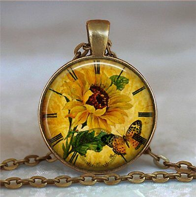 Necklace Clock Pendant (Sunflower Clock Necklace, Sunflower Pendant)
