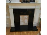 Fire surround with black marble heath and surround
