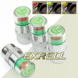 4x-Tappi-Coprivalvola-Controllore-Indica-Pressione-Ruote-Pnuematici-Cerchi-ex1l