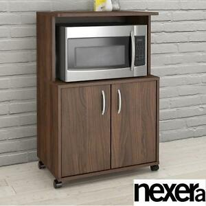 NEW NEXERA 2 DOOR MICROWAVE CART WALNUT FINISH - MOBILE KITCHEN CARTS FURNITURE DECOR MICROWAVES DINING ROOM 106051703