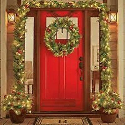 - Christmas Wreath Lighted LED Garland, Urn Filler Real Pinecones Fireproof NEW