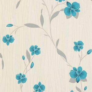 Orchidea-Verde-Blu-Carta-Da-Parati-Floreale-Con-Motivo-In-Vinile