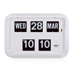Twemco QD35 Retro Modern Flip Clock Wall Calendar Made in Hong Kong White