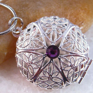Swarovski-Amethyst-Crystal-Silver-Picture-Locket-Charm-Pendant-Necklace