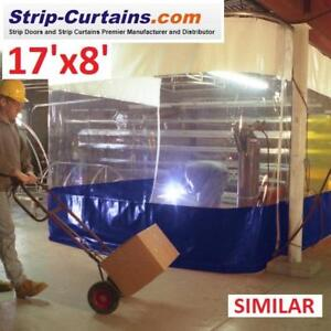 NEW*- STRIP DOOR CURTAIN 17'x8' 186523052 TOP WHITE MIDDLE CLEAR BOTTOM BLUE FIRE RATED STRIP CURTAIN