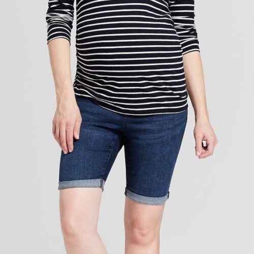 Maternity Crossover Panel Bermuda Jean Shorts - Dark Wash -Sizes 2 4 6 8 10 #d92