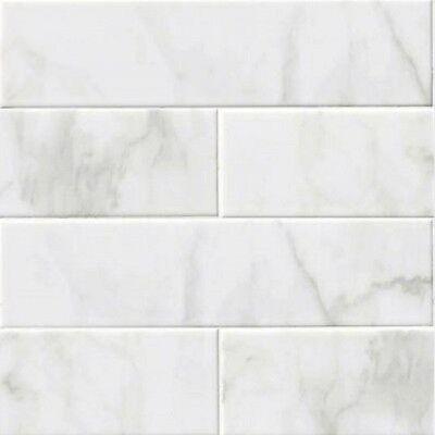 Glossy White Carrara Subway Backsplash Tile Ceramic 4  X 16  Kitchen Bathroom