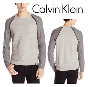 NEW CALVIN KLEIN SWEATER MEN'S XXL TURBULENCE HEATHER - SHIRT - Uneven Budding Baseball V-Neck Sweater 99687485
