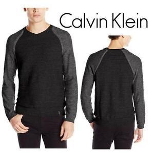 NEW CALVIN KLEIN SWEATER MEN'S XXL NIGHT SKY HEATHER - SHIRT Uneven Budding Baseball V-Neck Sweater 99687182