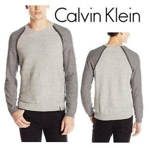 NEW CALVIN KLEIN SWEATER MEN'S XXL TURBULENCE HEATHER - SHIRT - Uneven Budding Baseball V-Neck Sweater 99687485