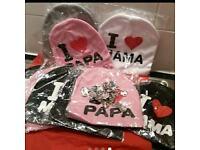 I love Mama/ Papa hats + free pendant