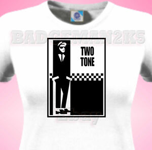 TWO-2-TONE-Soul-SKA-Mod-SCOOTER-Madness-Specials-Music-Ladies-T-Shirt-Fans
