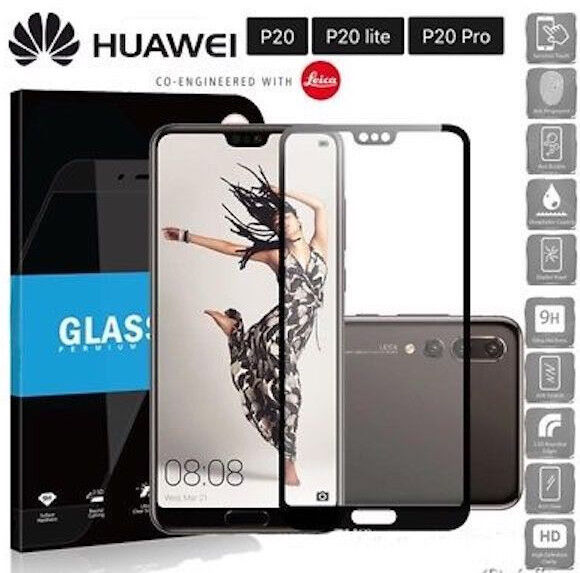 PELLICOLA FULL SCREEN VETRO TEMPERATO HUAWEI P20 LITE PRO NERO DISPLAY CLT-L09