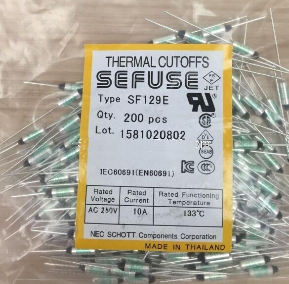 10pcs SF129E SEFUSE Cutoffs NEC Thermal Fuse 133°C Celsius Degree 10A 250V