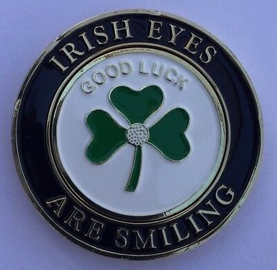 Magnetic Lucky Irish Clover Flag Pocket Coin With removable Golf Ball Marker