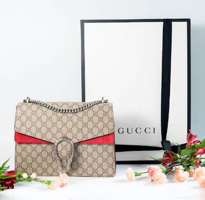 GUCCI Red GG Canvas Suede Dionysus Shoulder Cross Body Bag with Box