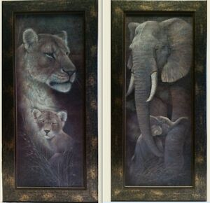 Pair of Lion & Elephant Framed Pictures