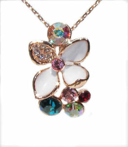 Gold-Plated-Cubic-Zirconia-Colorful-Flower-Swarovski-Pendants-Necklace-Cut-N3