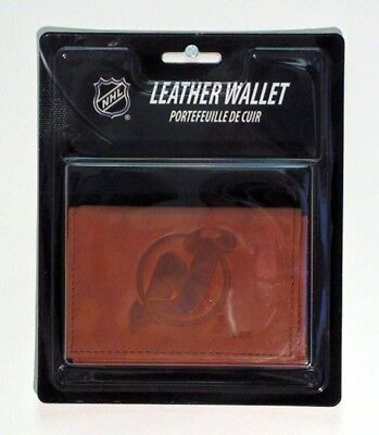New Jersey Devils NHL Embossed Leather Trifold Wallet - Nhl Leather Embossed Wallet