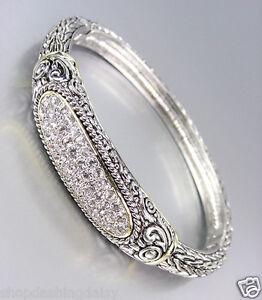 Designer-Style-Balinese-Silver-Pave-CZ-Crystals-Weave-Bangle-Bracelet
