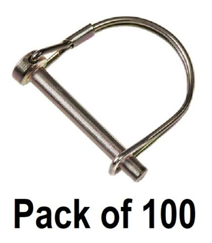 """100 ea Double HH Mfg. 81987  5/16"""" x 2-1/4"""" Round Hitch Pins w Coil Tension"""