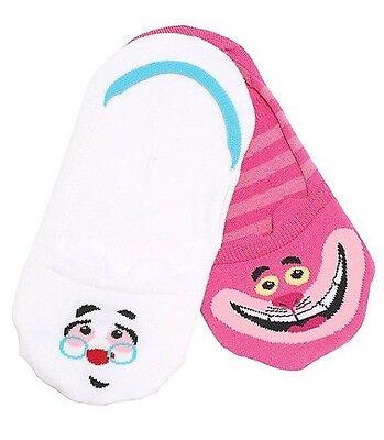 Disney Alice In Wonderland Cheshire Cat White Rabbit No Show Socks 2 Pack