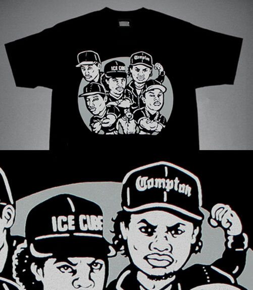 New  Black Gray NWA Compton shirt Eazy E rap supreme group Dre hip hop Cajmear L