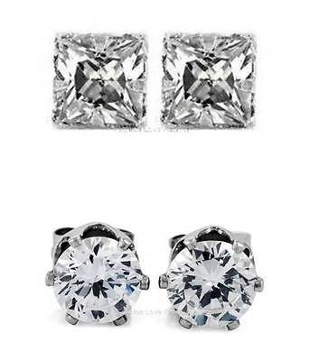 Earrings - 1 PAIR CZ CLEAR SQUARE/ROUND MAGNETIC Clip-On EARRINGS STUDS Men Women