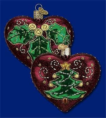 (1) QUILTED CHRISTMAS HEART OLD WORLD CHRISTMAS W/ TREE GLASS ORNAMENT NWT 30025