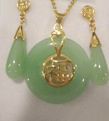 Green Jade Set - Natural Light Green Jade Yellow Gold Plated Fortune Pendant Necklace Earring Set