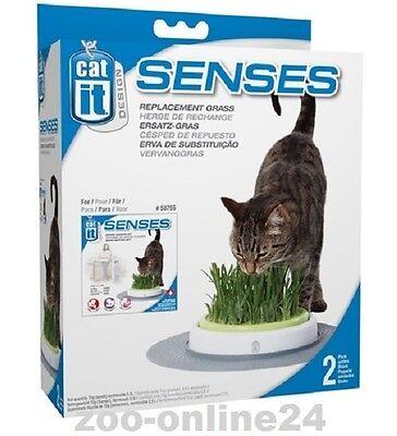 Catit DESIGN SENSES, 2er Nachfüll-Pack, Katzengras für Gras-Garten: 50777