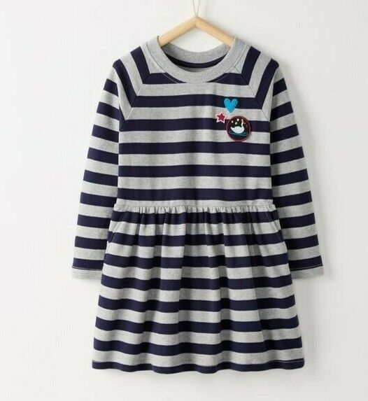 NWT 130 Hanna Andersson Long sleeves Striped Dress Girls Size 8