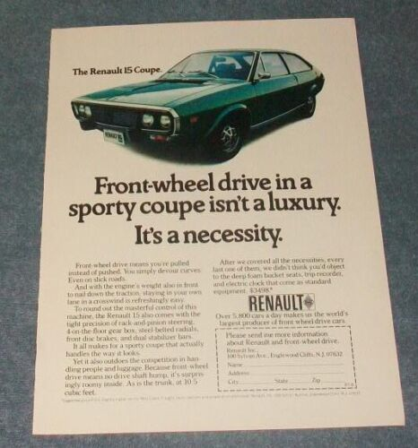 """1973 Renault 15 Coupe Vintage Color Ad """"Front-Wheel Drive in a Sporty Coupe..."""""""