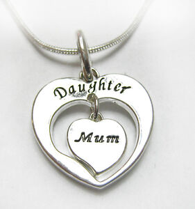 Silver Plated Daughter & Mum Mother Double Heart Necklace Great Gift Idea