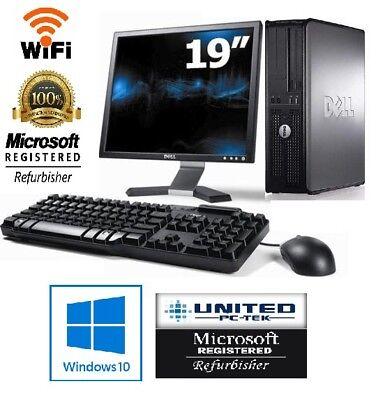 """Dell Desktop PC Computer Dual Core 4GB 250GB HDD 19"""" LCD Monitor WiFi Windows 10"""