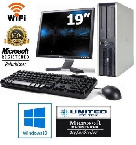 "HP OR DELL Desktop PC 4GB 500GB HDD 19"" LCD Monitor WiFi Windows 10 Warranty"