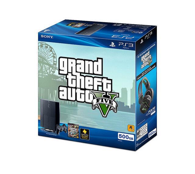Playstation 3 - SONY PlayStation 3 PS3 Slim 500GB  Console (CECH-4001C) Grand Theft Auto V Bundl