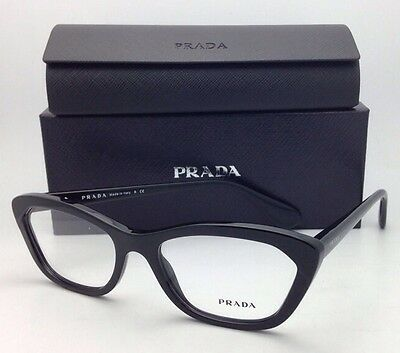 New!!! PRADA Eyeglasses Cat-Eye VPR 03Q 1AB-1O1 54-18 140 Black Plastic Frames